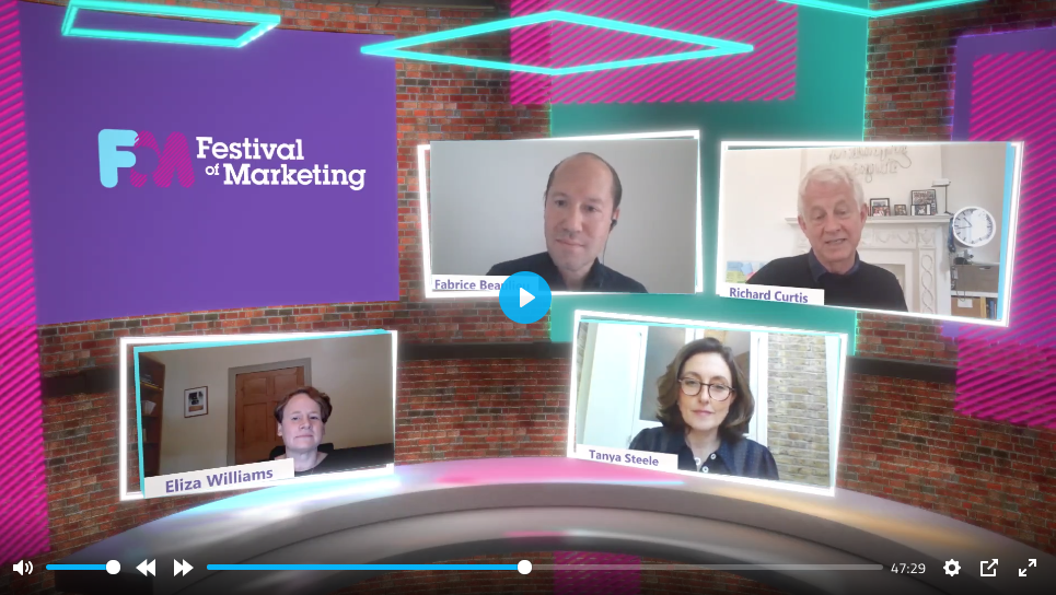 richard curtis and tanya steele speaking at the festival of marketing 2020